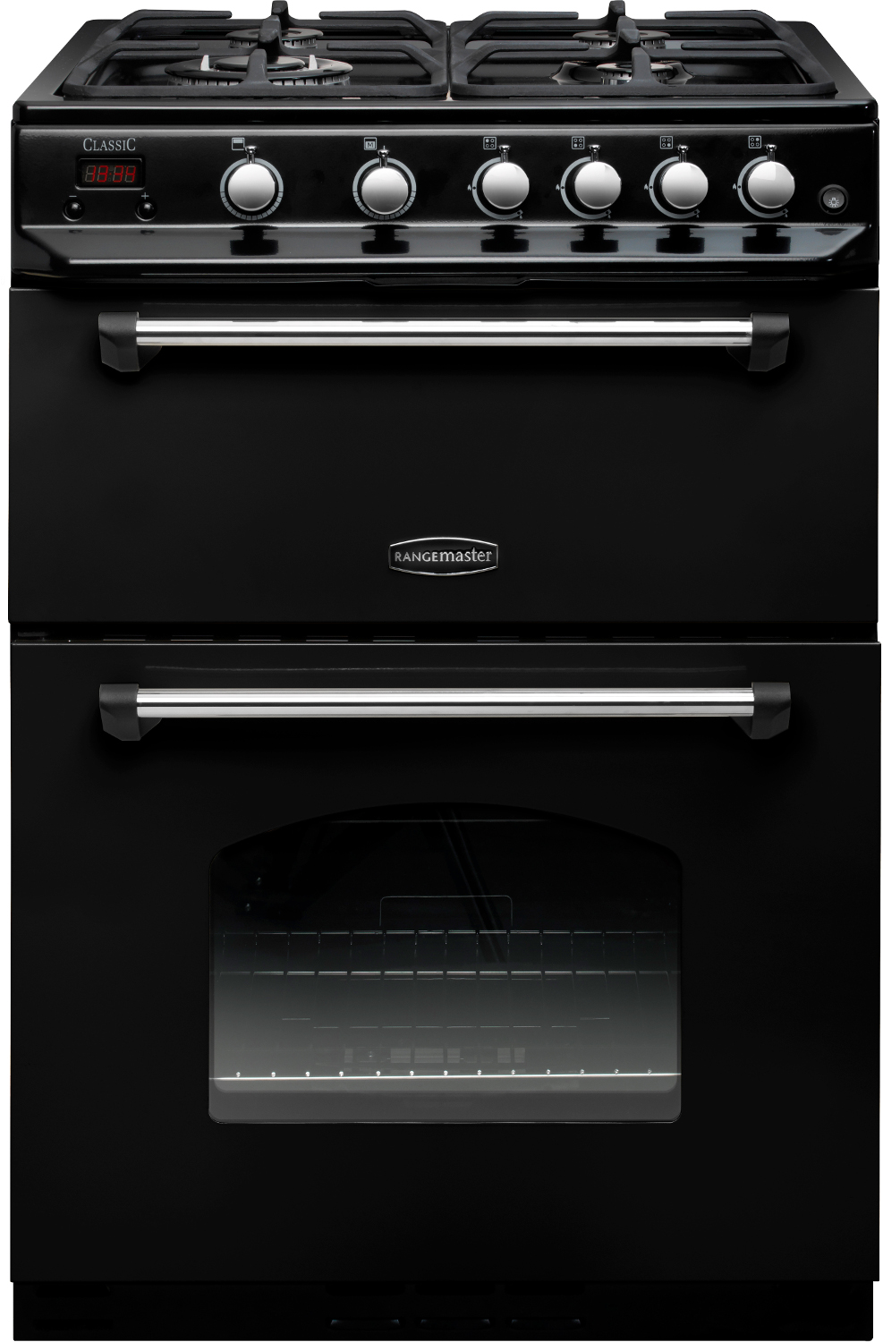 Rangemaster CLAS60NGFBL/C Classic 60 NG Black with Chrome Trim Gas Cooker with Double Oven