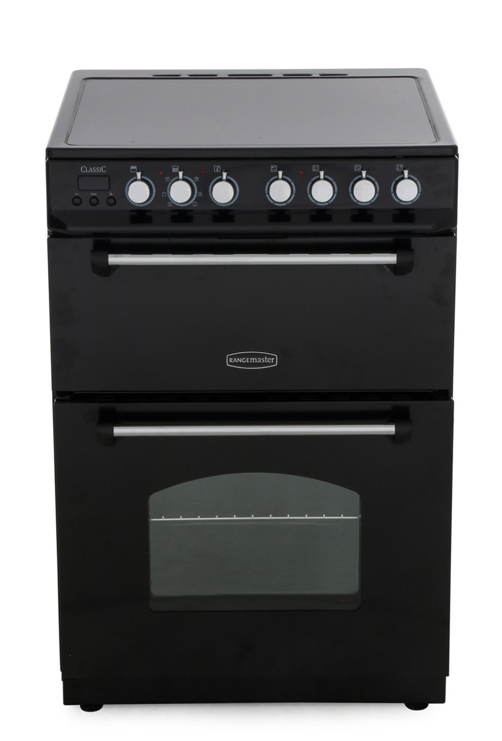 Rangemaster CLAS60ECBL/C Classic 60 Black with Chrome Trim Ceramic Electric Cooker with Double Oven