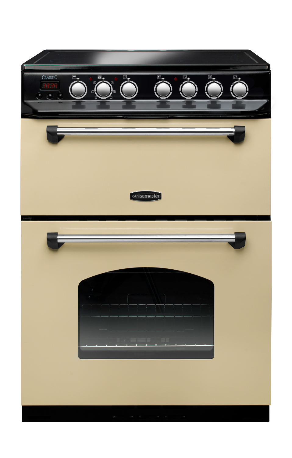 Rangemaster CLAS60ECCR/C Classic 60 Cream with Chrome Trim Ceramic Electric Cooker with Double Oven