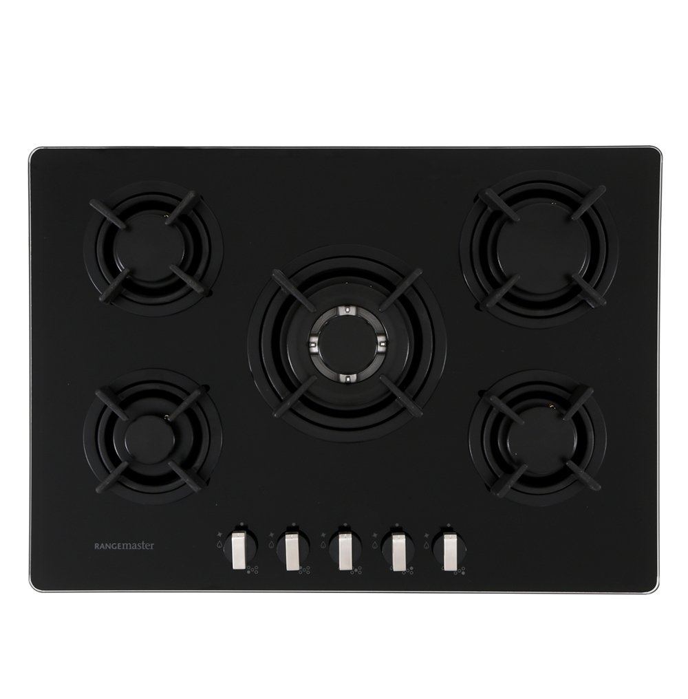 Rangemaster RMB70HPNGFGL Black Glass 5 Burner Gas Hob