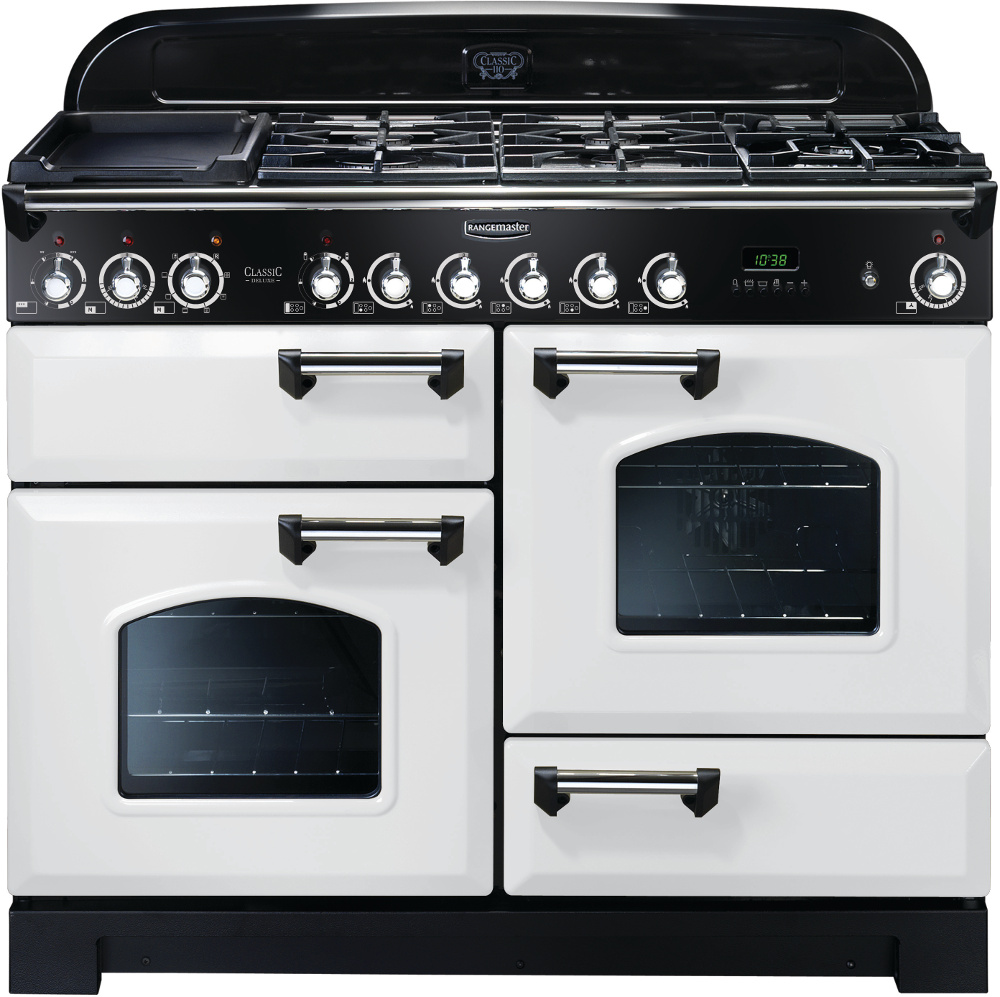 Rangemaster CDL110DFFWH/C Classic Deluxe White with Chrome Trim 110cm Dual Fuel Range Cooker