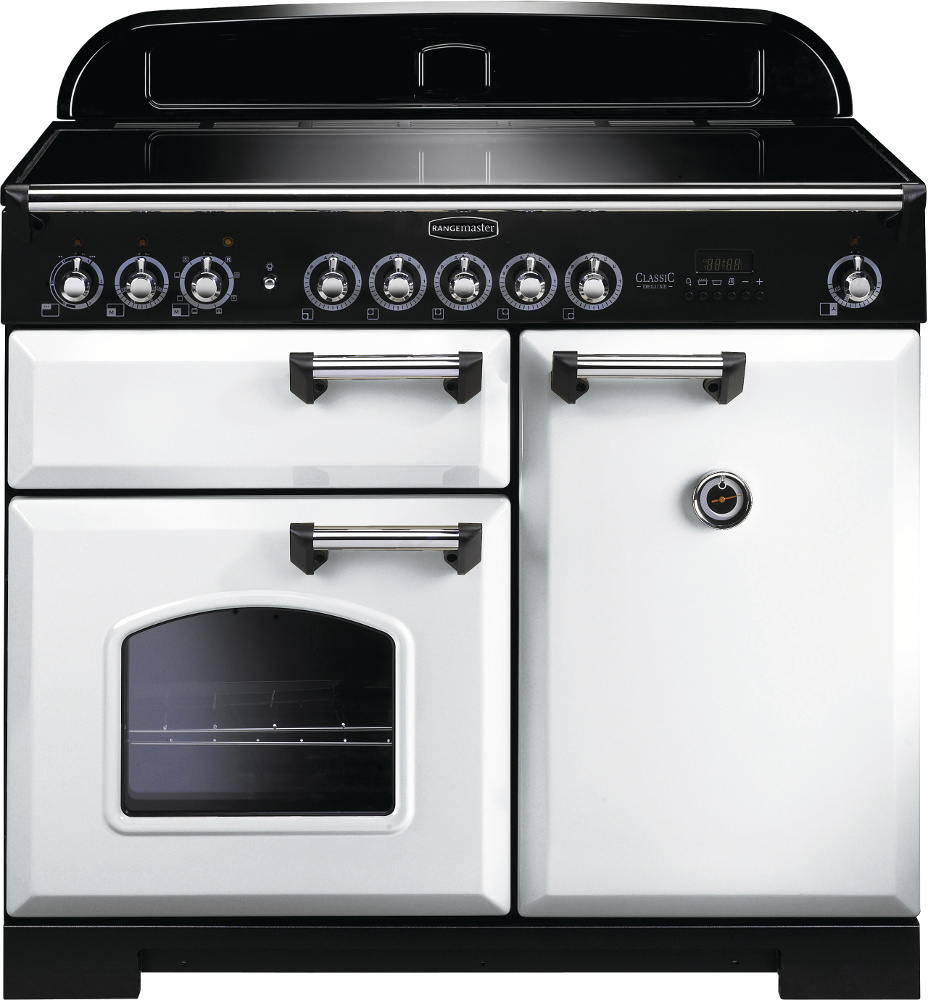 Rangemaster CDL100EIWH/C Classic Deluxe White with Chrome Trim 100cm Electric Induction Range Cooker
