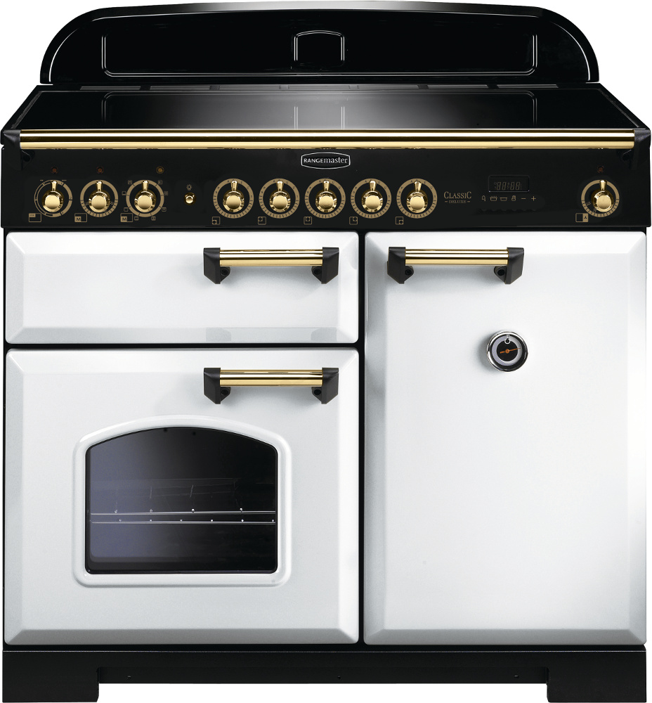 Rangemaster CDL100EIWH/B Classic Deluxe White with Brass Trim 100cm Electric Induction Range Cooker