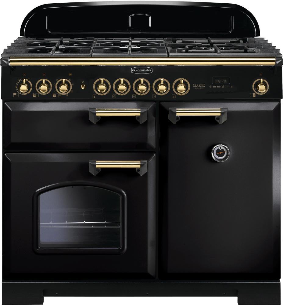 Rangemaster CDL100DFFBL/B Classic Deluxe Gloss Black with Brass Trim 100cm Dual Fuel Range Cooker
