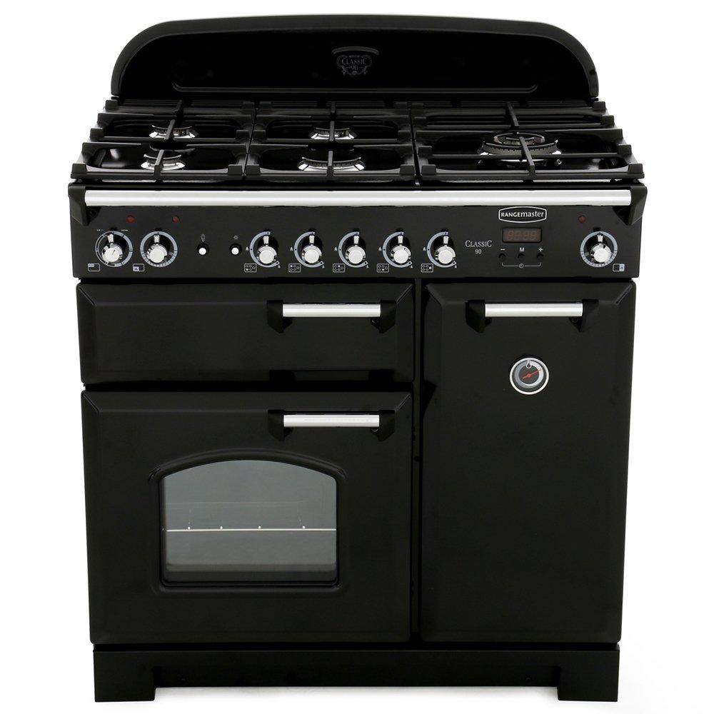 Rangemaster CLA90DFFBL/C Classic Black with Chrome Trim 90cm Dual Fuel Range Cooker