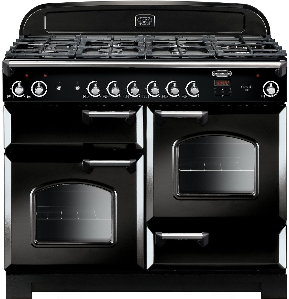 Rangemaster CLA110NGFBL/C Classic Black with Chrome Trim 110cm Gas Range Cooker