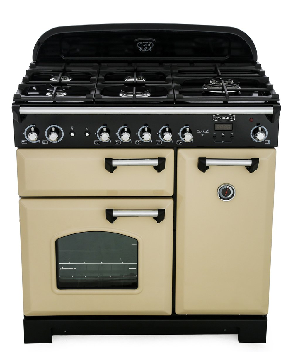 Rangemaster CLA90NGFCR/C Classic Cream with Chrome Trim 90cm Gas Range Cooker