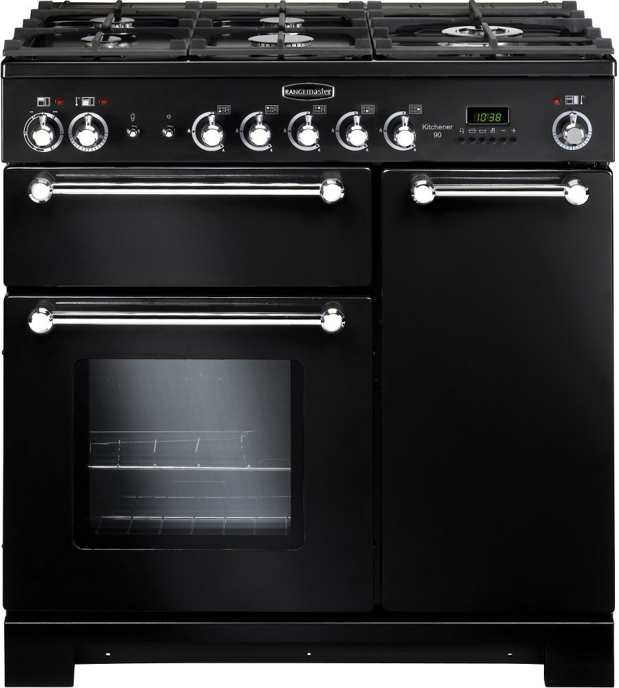 Rangemaster KCH90NGFBL/C Kitchener Black with Chrome Trim 90cm Gas Range Cooker