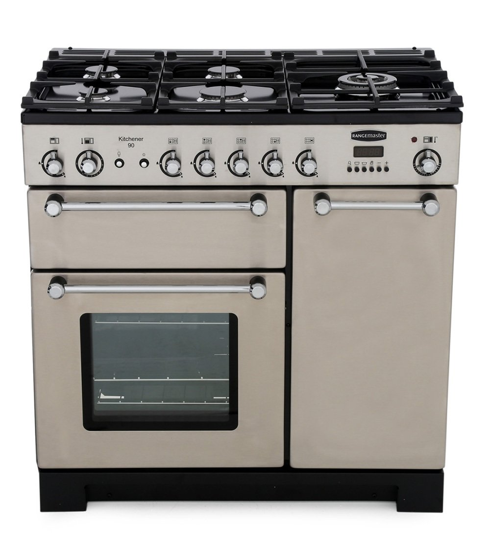 Rangemaster KCH90NGFSS/C Kitchener Stainless Steel with Chrome Trim 90cm Gas Range Cooker