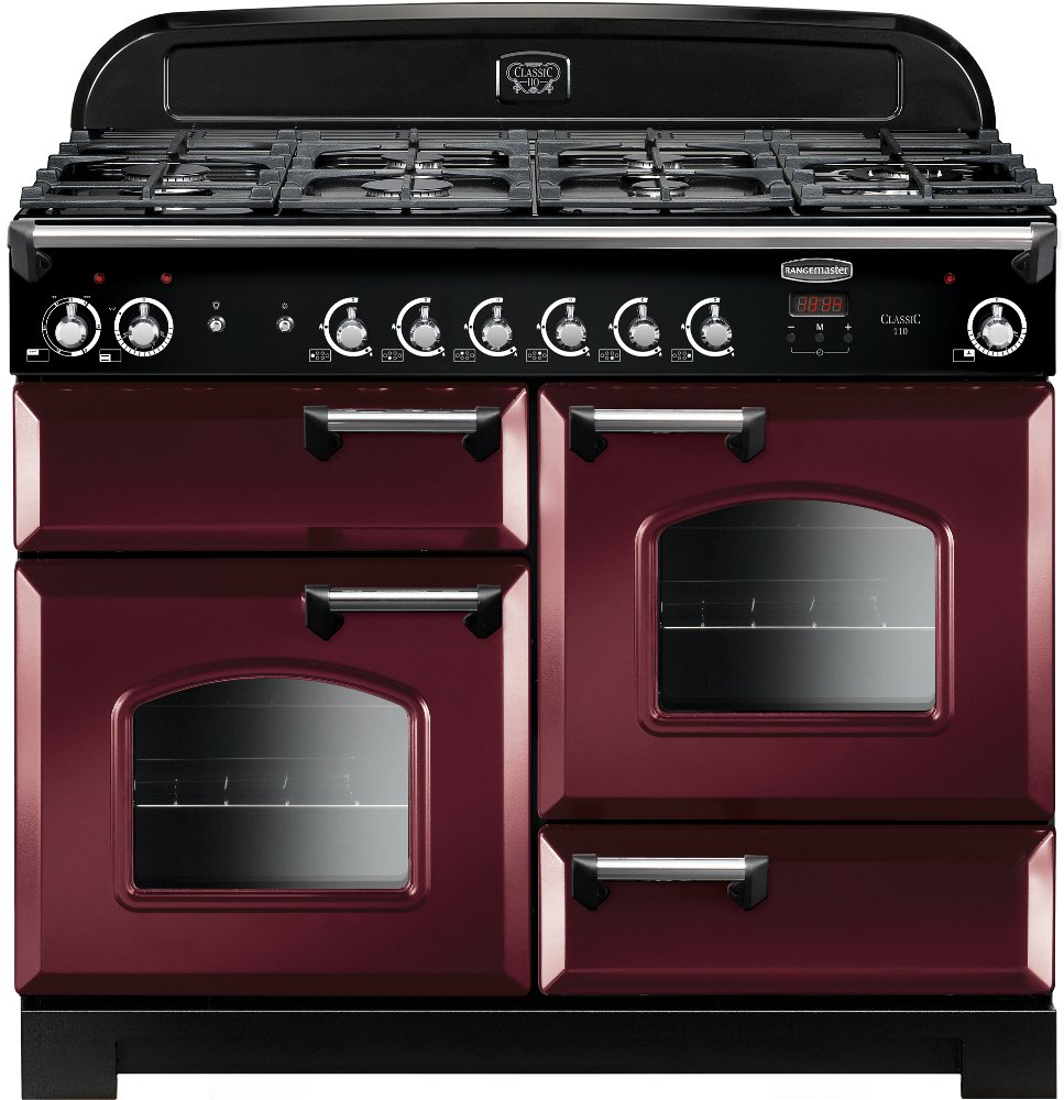 Rangemaster CLA110DFFCY/C Classic Cranberry with Chrome Trim 110cm Dual Fuel Range Cooker