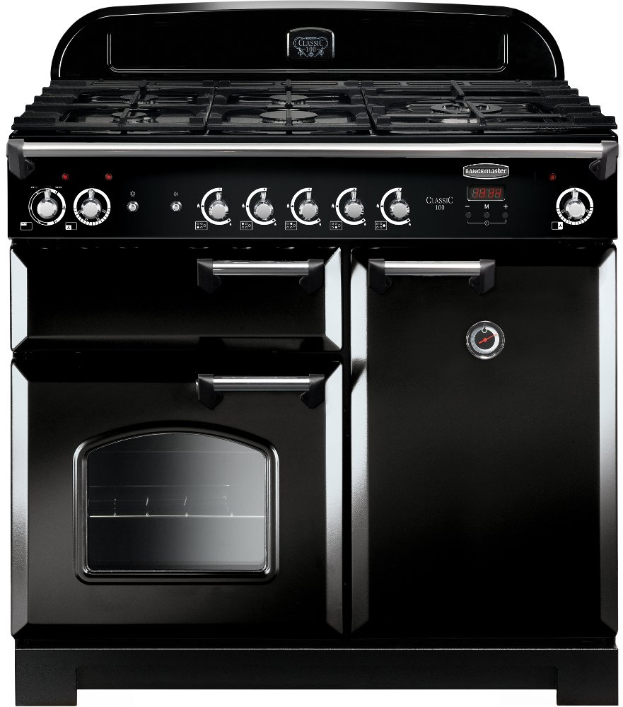 Rangemaster CLA100DFFBL/C Classic Black with Chrome Trim 100cm Dual Fuel Range Cooker