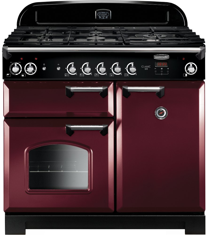 Rangemaster CLA100DFFCY/C Cranberry with Chrome Trim 100cm Dual Fuel Range Cooker