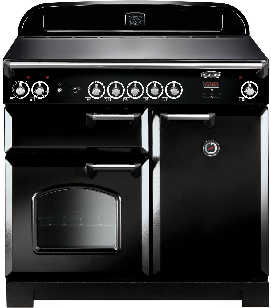 Rangemaster CLA100EIBL/C Classic Black with Chrome Trim 100cm Electric Induction Range Cooker