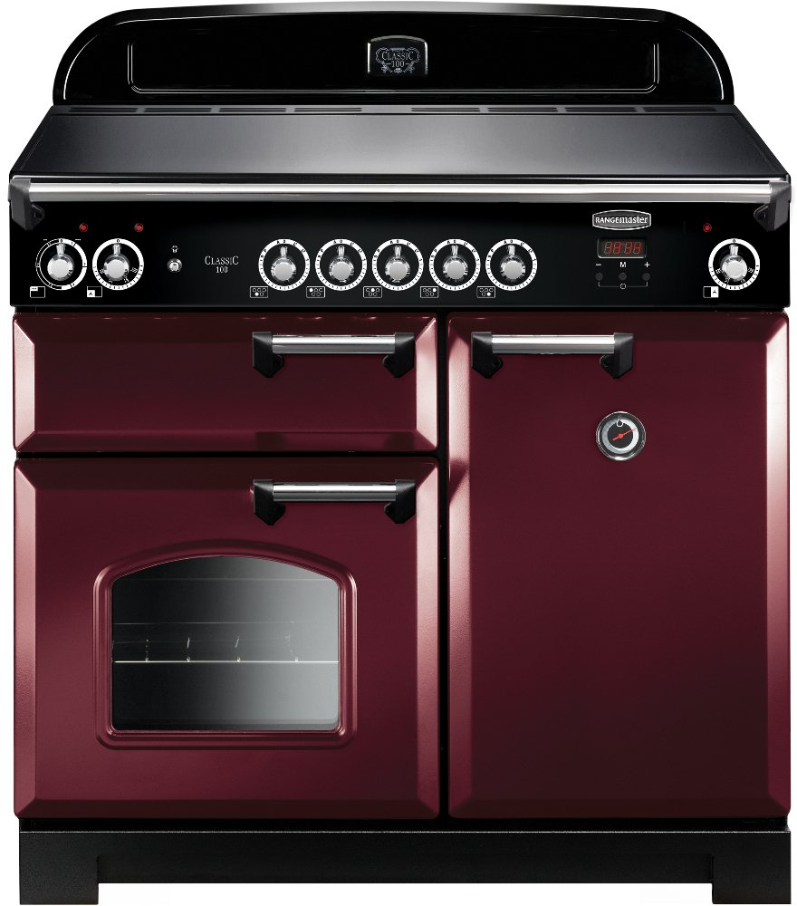 Rangemaster CLA100EICY/C Classic Cranberry with Chrome Trim 100cm Electric Induction Range Cooker