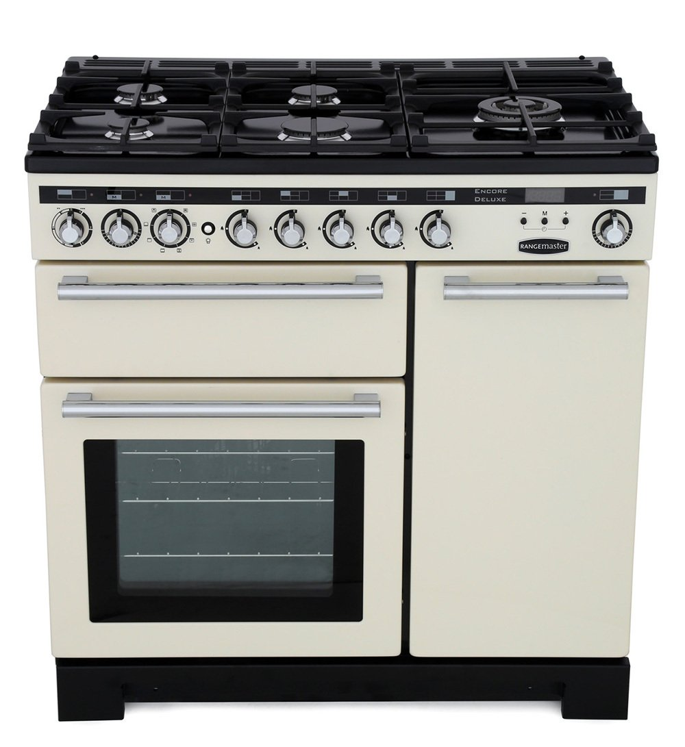 Rangemaster EDL90DFFIV/C Encore Deluxe Ivory with Chrome Trim 90cm Dual Fuel Range Cooker