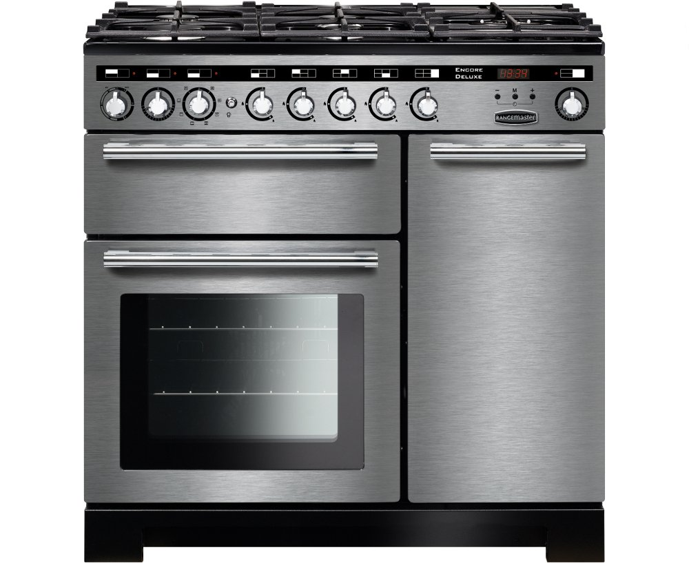 Rangemaster EDL90DFFSS/C Encore Deluxe Stainless Steel with Chrome Trim 90cm Dual Fuel Range Cooker