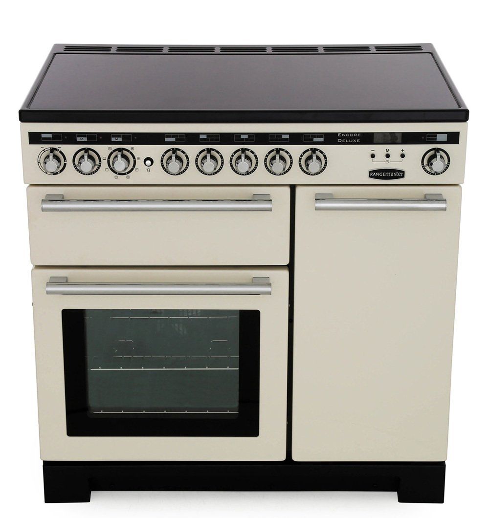 Rangemaster EDL90EIIV/C Encore Deluxe Ivory with Chrome Trim 90cm Electric Induction Range Cooker