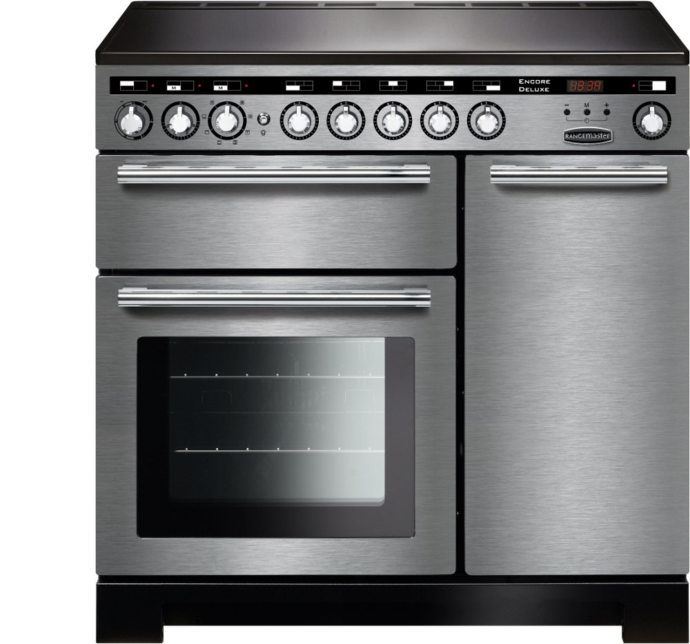 Rangemaster EDL90EISS/C Encore Deluxe Stainless Steel with Chrome Trim 90cm Electric Induction Range Cooker