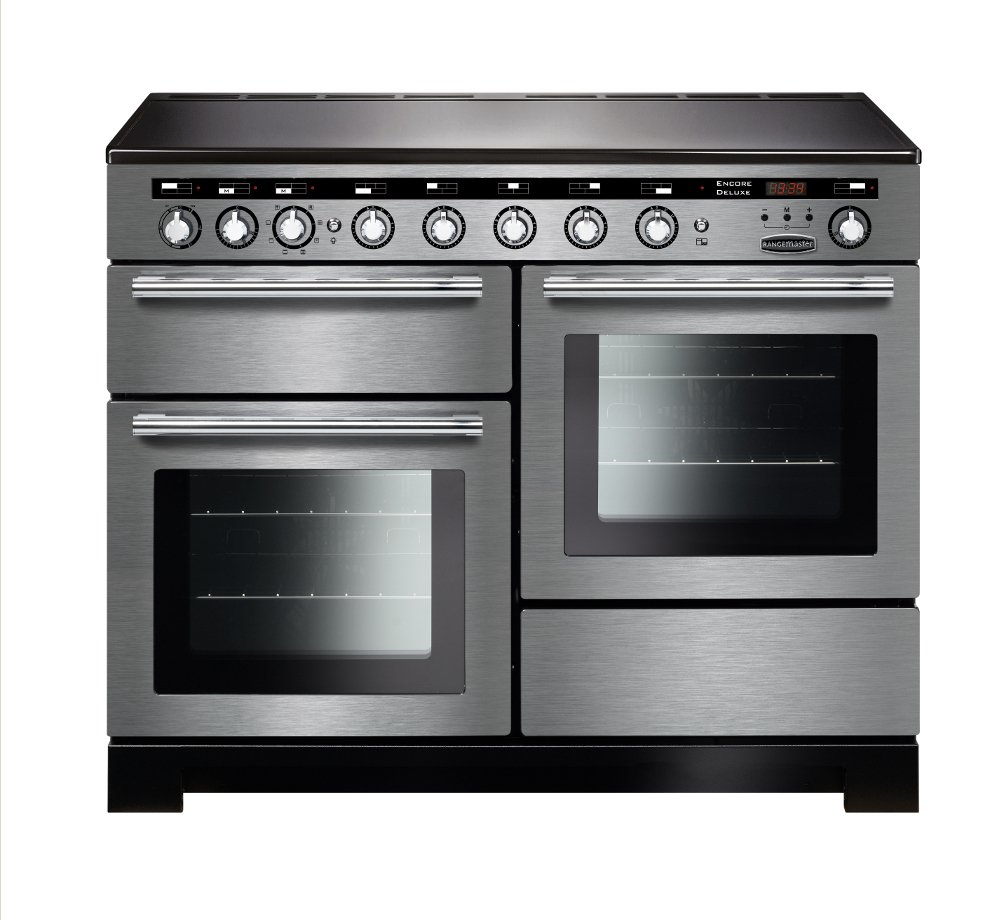 Rangemaster EDL110EISS/C Encore Deluxe Stainless Steel with Chrome Trim 110cm Electric Induction Range Cooker