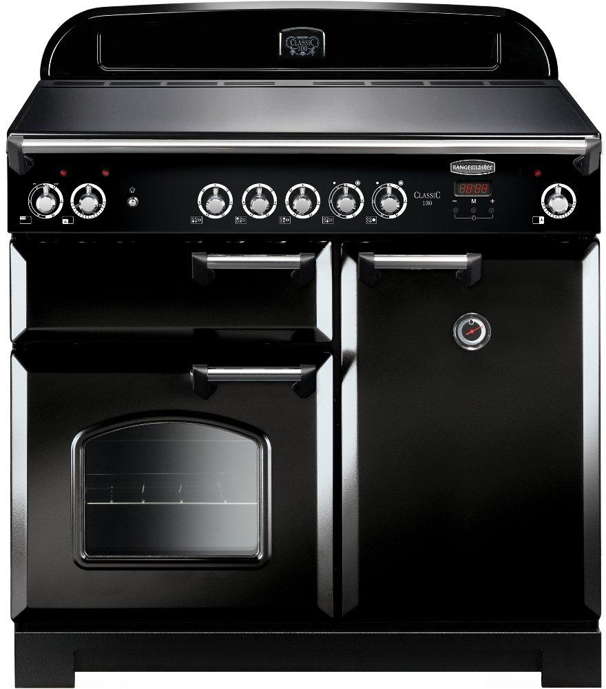 Rangemaster CLA100ECBL/C Classic Black with Chrome Trim 100cm Electric Ceramic Range Cooker