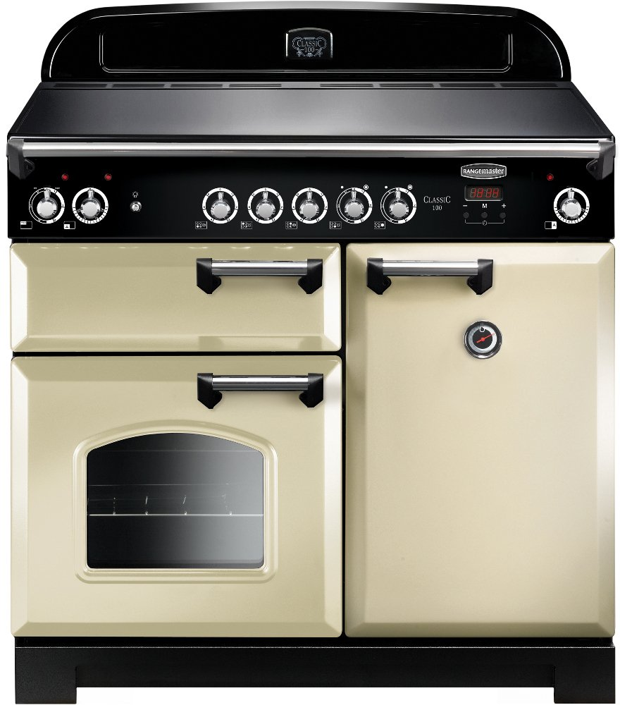 Rangemaster CLA100ECCR/C Classic Cream with Chrome Trim 100cm Electric Ceramic Range Cooker