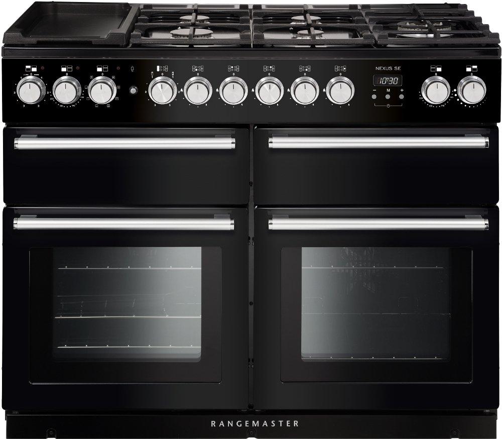 Rangemaster NEXUS SE 110DFBL/C Black with Chrome Trim 110cm Dual Fuel Range Cooker