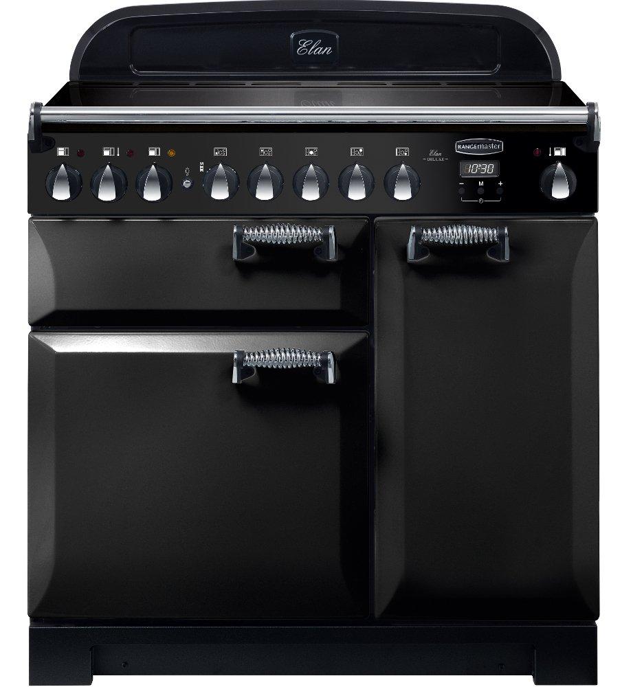 Rangemaster ELA90EIBL Elan Deluxe Black with Chrome Trim 90cm Electric Induction Range Cooker