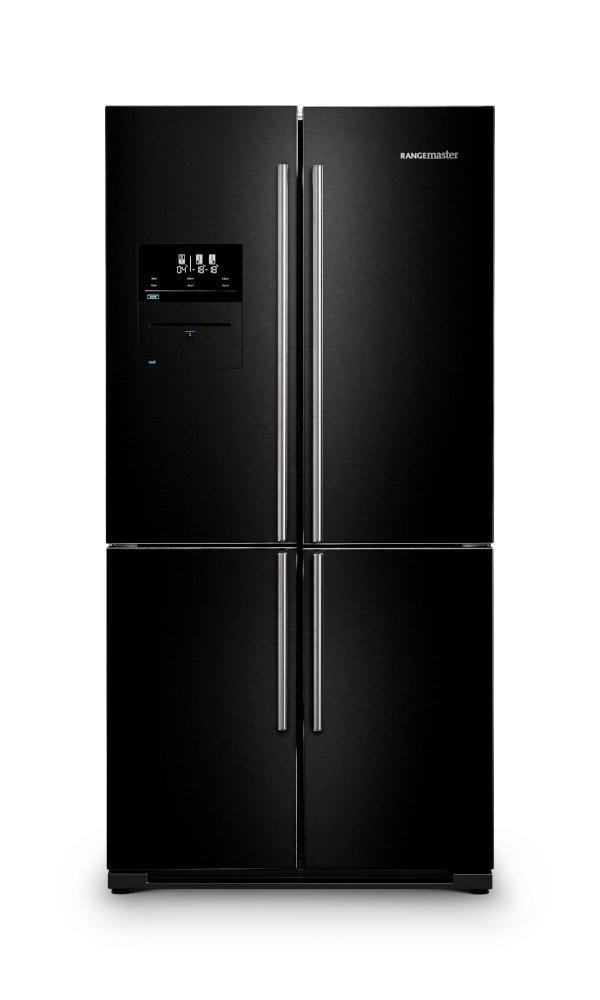 Rangemaster RSXS19BL/C Black with Chrome Trim American Fridge Freezer