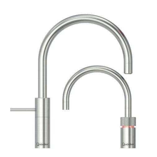 Quooker PRO3 Nordic Round Stainless Steel Boiling Water Twin Tap