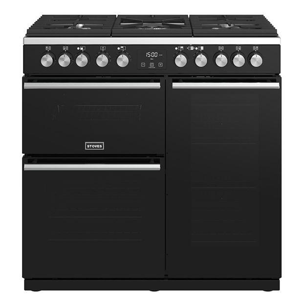 Stoves Precision Deluxe S900DF Black 90cm Dual Fuel Range Cooker