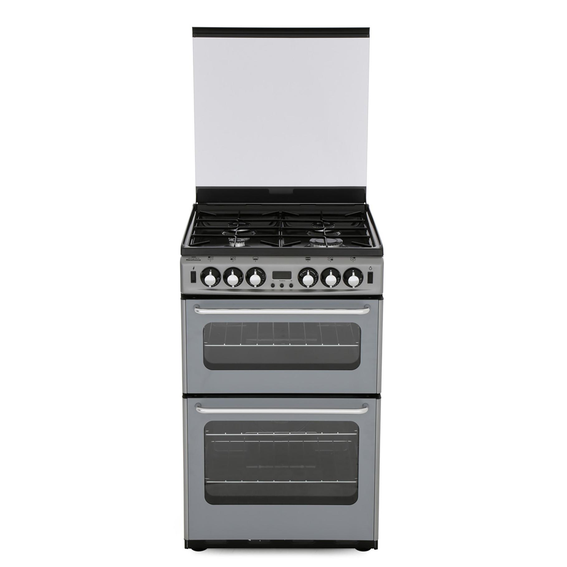 New World Newhome 550TSIDOm Silver Gas Cooker with Double Oven