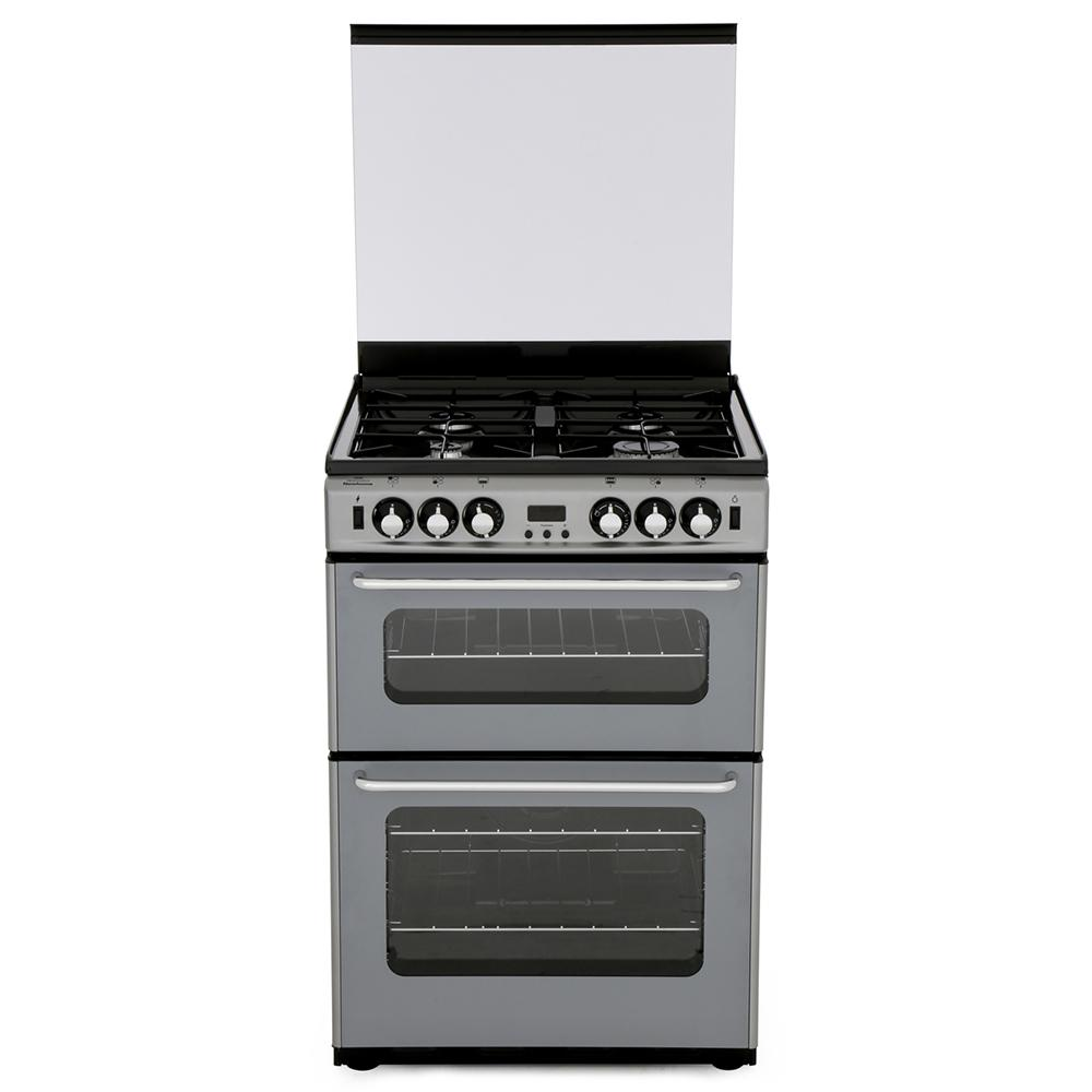 New World Newhome 600TSIDOm Silver Gas Cooker with Double Oven