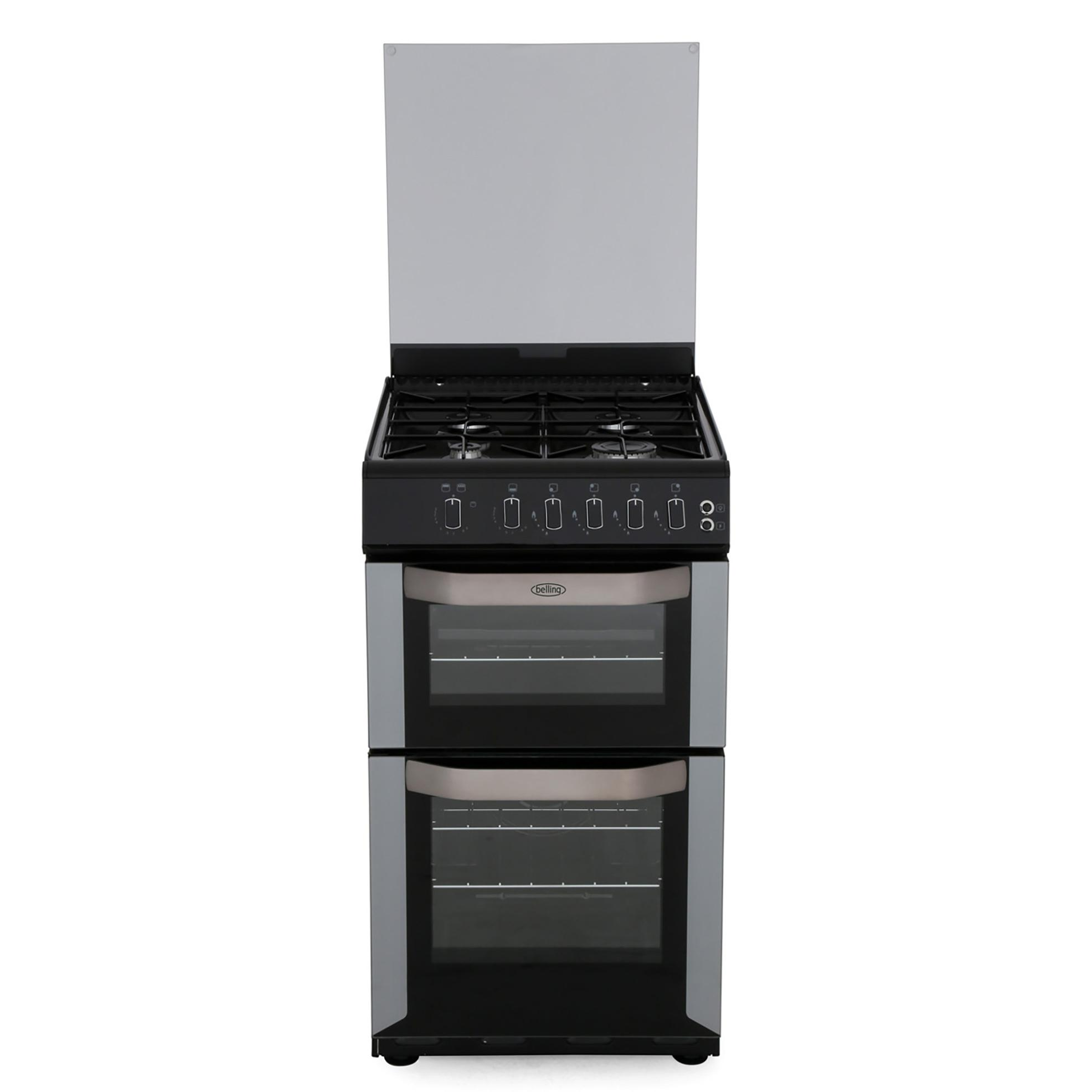 Belling FSG50DO Silver Gas Cooker with Double Oven