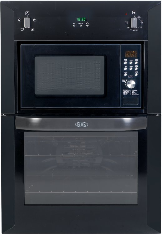 Built In Electric Oven And Grill Part - 44: Belling Microwave And Grill BI90FMW Black Double Built In Electric Oven With