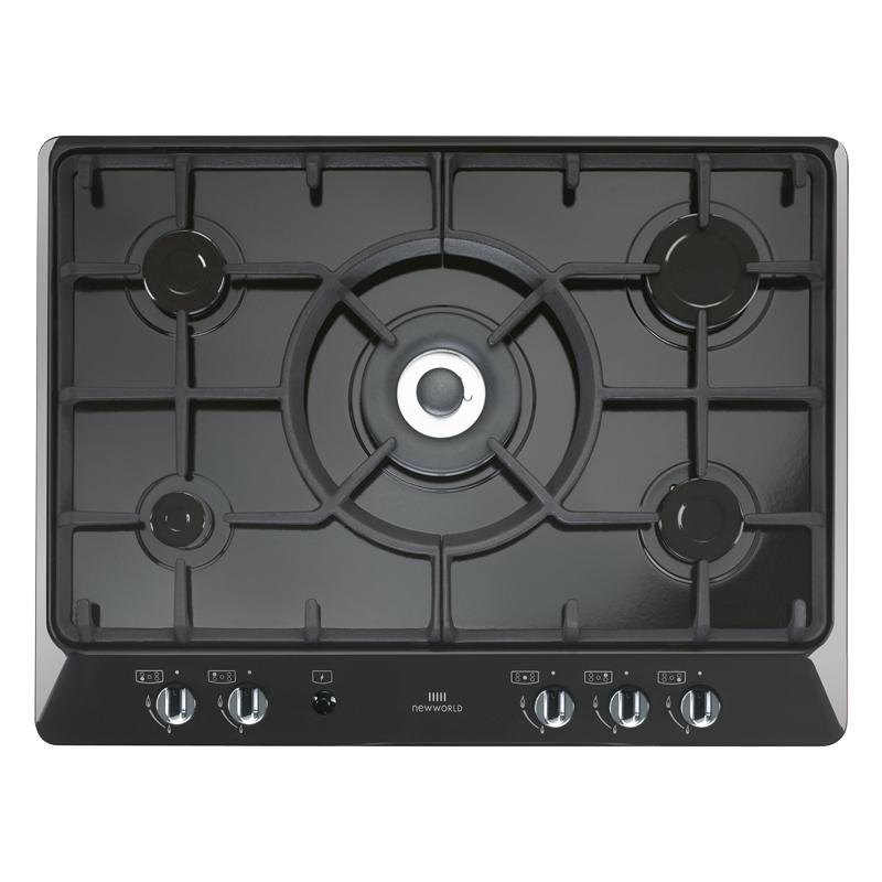 New World NWGHU701 Black 5 Burner Gas Hob