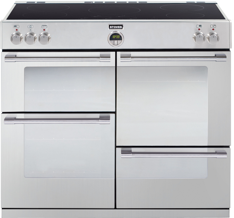 stoves sterling 1100ei stainless steel 110cm electric induction range cooker