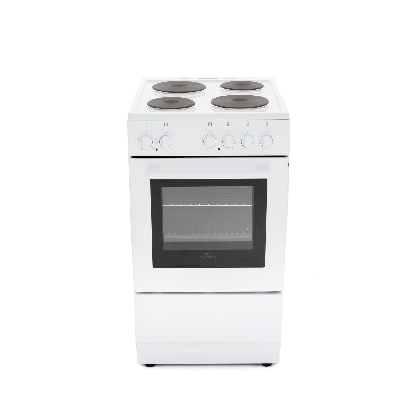 New World 50ES White Solid Plate Electric Cooker with Single Oven