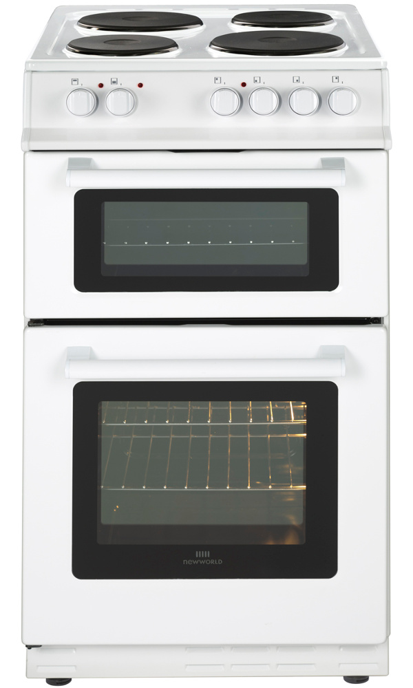 New World 50EDO White Solid Plate Electric Cooker with Double Oven