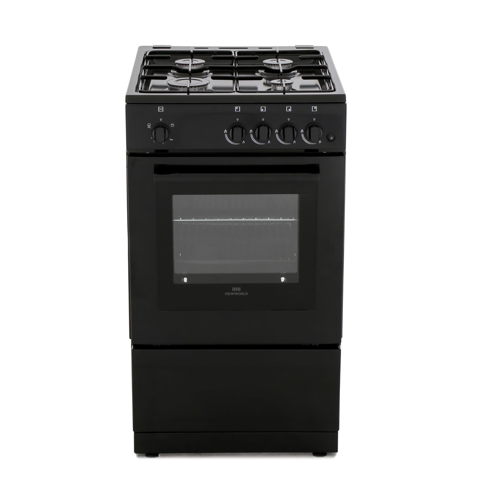 New World 50GSO Black Gas Cooker with Single Oven
