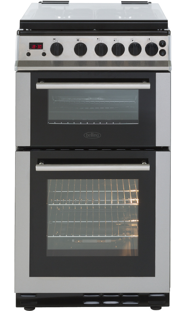 Belling FS50GDOLm Stainless Steel Gas Cooker with Double Oven
