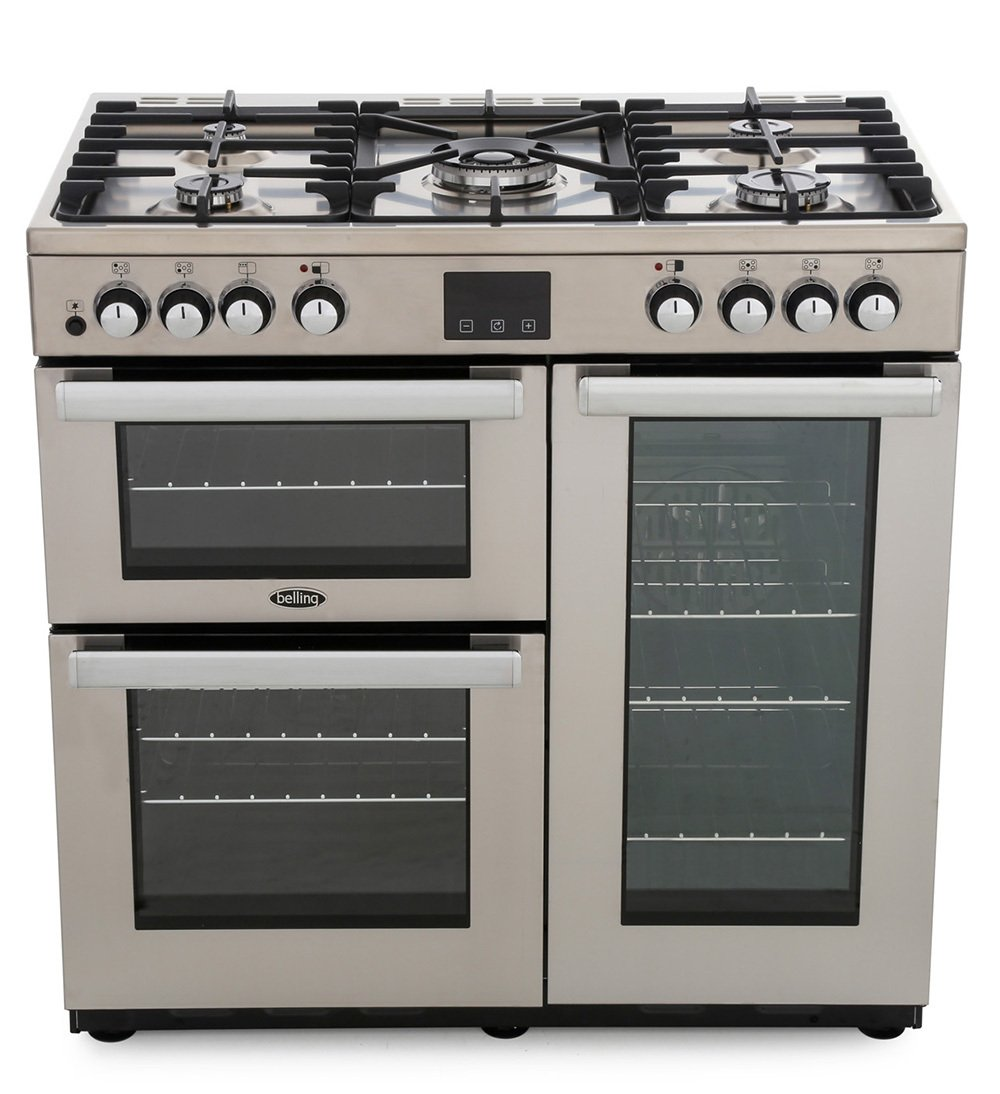 Belling Cookcentre 90DFT Professional Stainless Steel 90cm Dual Fuel Range Cooker