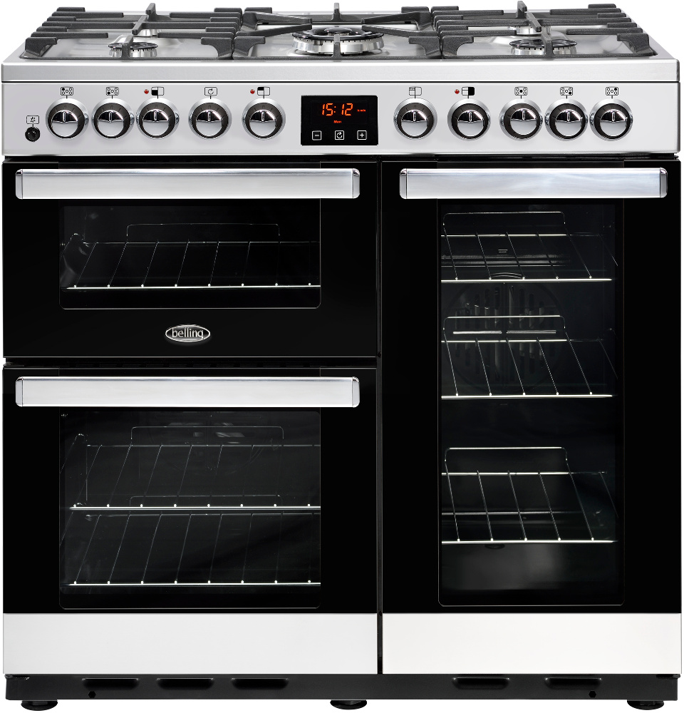 Belling Cookcentre DX 90DFT Stainless Steel 90cm Dual Fuel Range Cooker