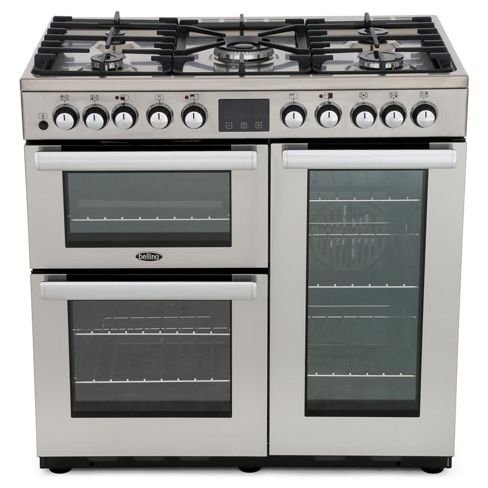 Belling Cookcentre DX 90DFT Professional Stainless Steel 90cm Dual Fuel Range Cooker