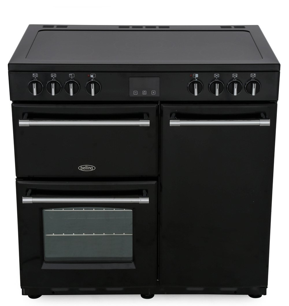 Belling Farmhouse 90E Black 90cm Electric Ceramic Range Cooker