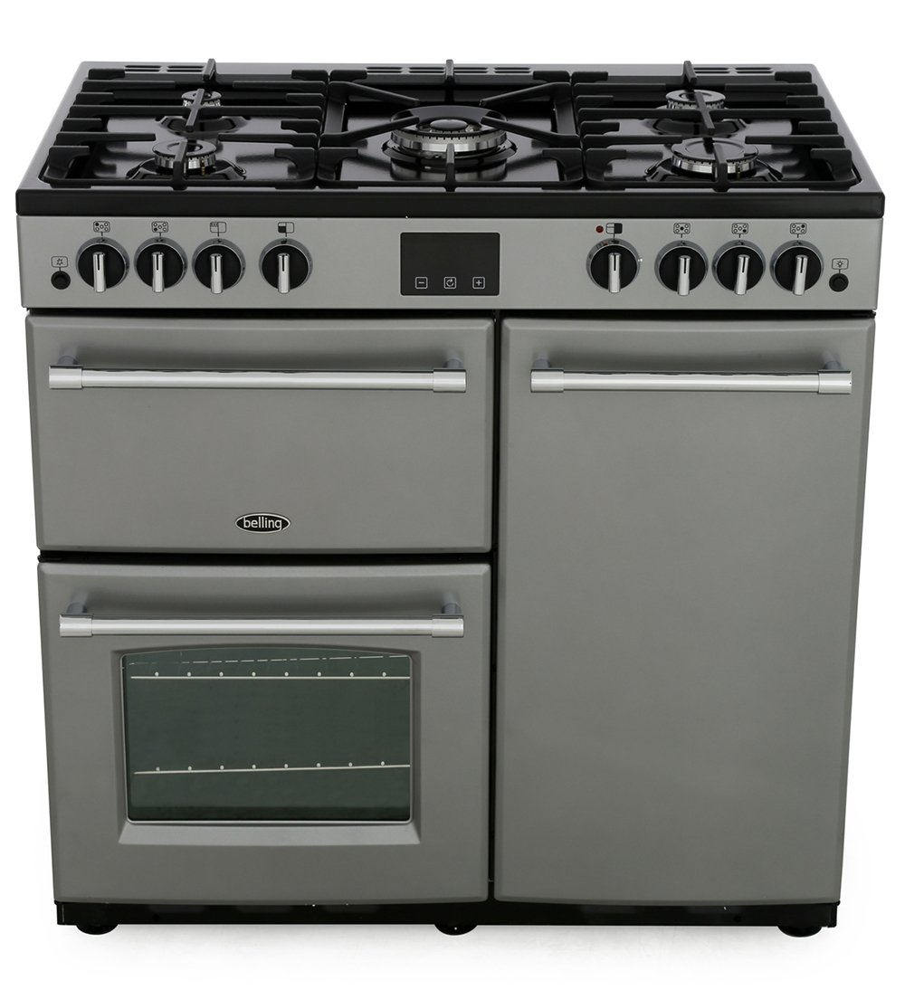 Belling Farmhouse 90G Silver 90cm Gas Range Cooker
