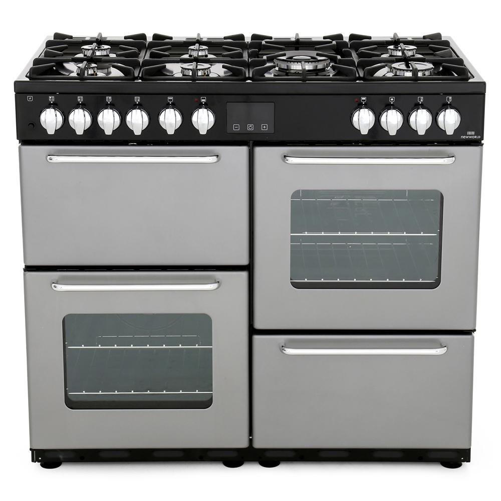 buy new world nw 100dft silver 100cm dual fuel range cooker rh markselectrical co uk