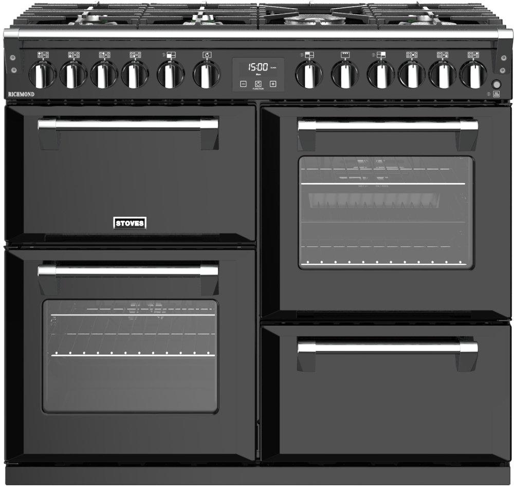Stoves Richmond S1000DF Black 100cm Dual Fuel Range Cooker