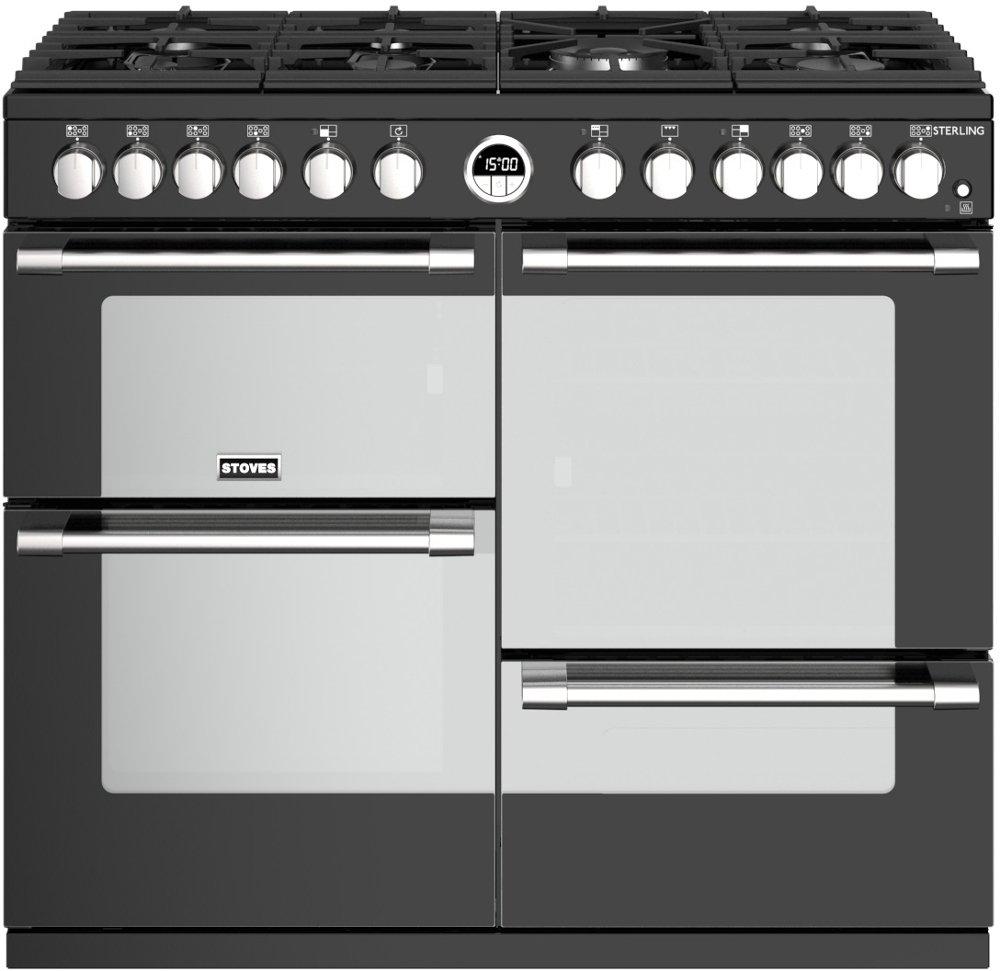 Stoves Sterling S1000DF Black 100cm Dual Fuel Range Cooker