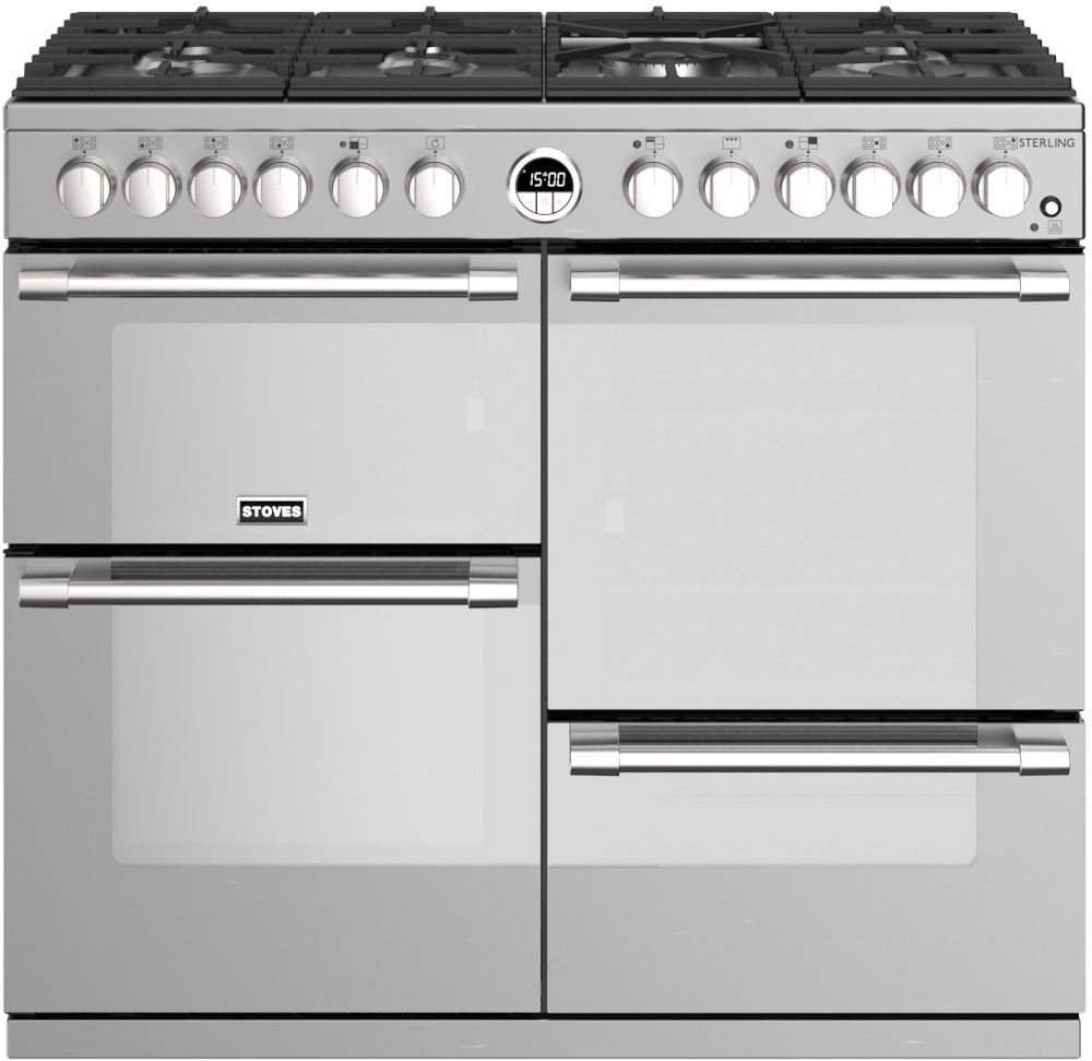 Stoves Sterling S1000DF Stainless Steel 100cm Dual Fuel Range Cooker