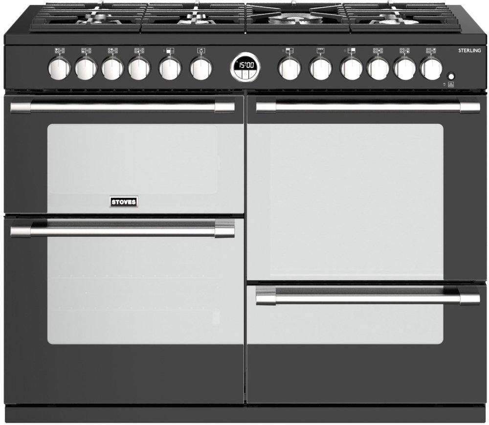 Stoves Sterling S1100DF Black 110cm Dual Fuel Range Cooker